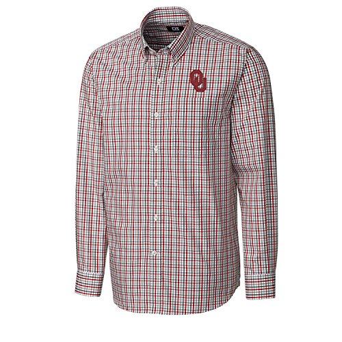Embroidered Oklahoma Sleeve Long (NCAA Oklahoma Sooners Men's Long sleeve Gilman Plaid Shirt, Large, Cardinal Red)