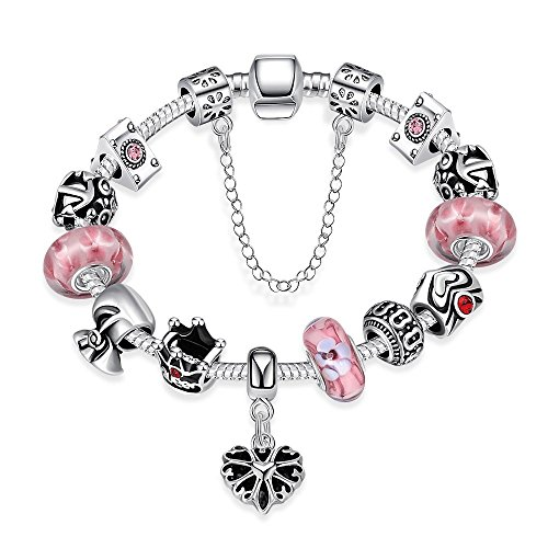 Gorgeous Jewelry Heart Pendant Silver Queen Crown and Geometrical Pattern Pink Crystal Beaded Bracelet
