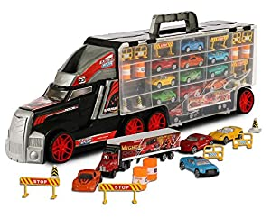 Super Transport Truck Carrier Toy – Plastic Transporter/Case – Includes 10 Die-Cast Mini Cars, Mini Semi-Truck, 16 Assorted Road Block Accessories – Holds Over 40 Cars! – by ToyThrill