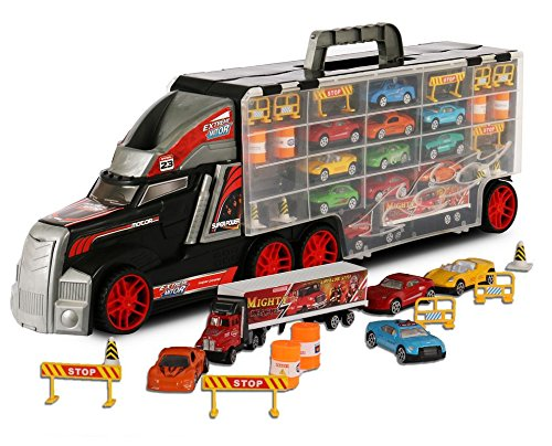 Super-Transport-Truck-Carrier-Toy--Plastic-TransporterCase--Includes-10-Die-Cast-Mini-Cars-Mini-Semi-Truck-16-Assorted-Road-Block-Accessories--Holds-Over-40-Cars--by-ToyThrill