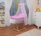 WALDIN Baby wicker cradle,Moses basket,natural unpainted stand,8 models available,textile colour pink/white