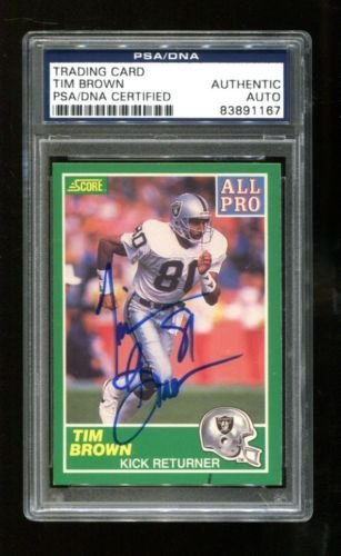 1989 Score Tim Brown Signed Autographed Card Raiders Heisman PSA/DNA 83891167