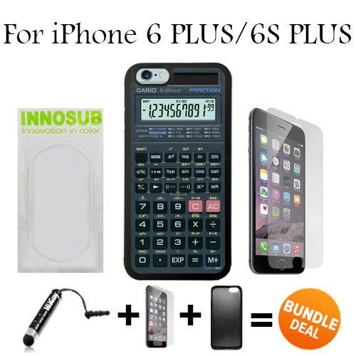 Scientific Calculator Custom iPhone 6 PLUS Cases/6S PLUS Cases-Black-Rubber,Bundle 3in1 Comes with HD Tempered Glass/Universal Stylus Pen by innosub