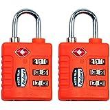 South Main Hardware 810108 TSA-Accepted Resettable Luggage Lock (2 Pack), Orange