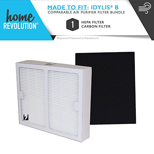 Idylis Part # IAF-H-100B for Idylis IAP-10-125 and IAP-10-150 Models, Comparable 1 B HEPA and 1 Carbon Filter. A Home Revolution Brand Quality Aftermarket Replacement 2PK