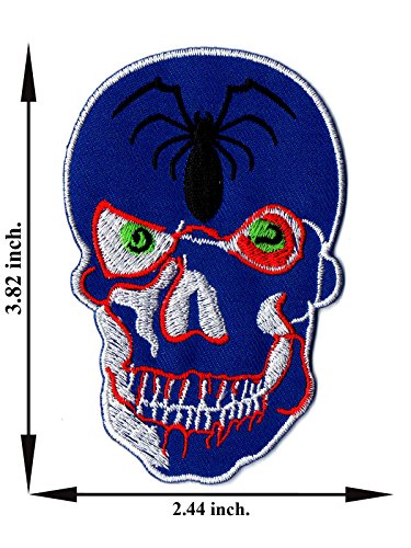 Smile Spider (Spider Skull Smile Embroidered Applique Iron on Patch T-shirt Cap Jeans Bag)