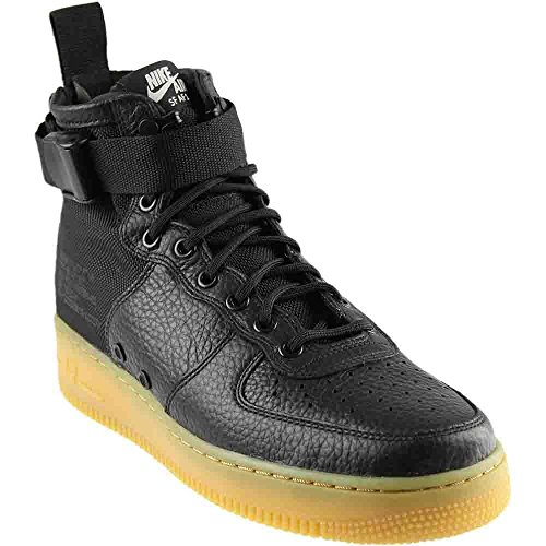 Brown Mens Basketball - NIKE Men's SF AF1 Mid Black/Black Gum Light Brown Basketball Shoe 10.5 Men US