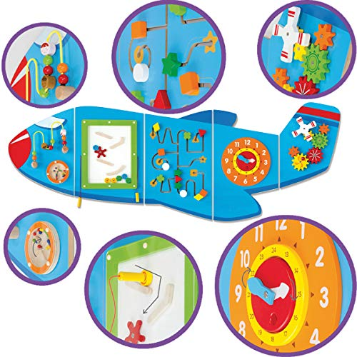 51%2Bzcbtv CL - Learning Advantage Airplane Activity Wall Panels - Toddler Activity Center - Wall-Mounted Toy for Kids Aged 18M+ - Kids Decor for Play Areas (50673)