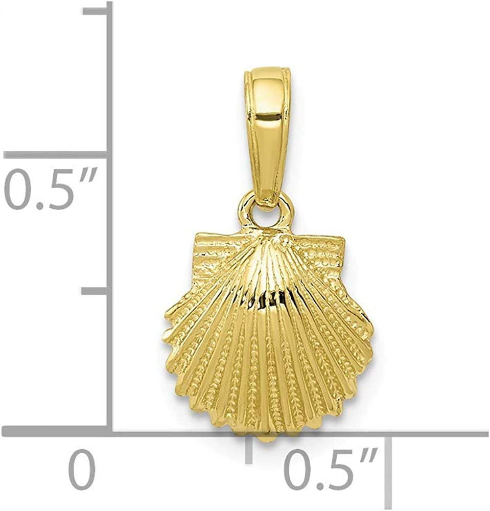 10K Yellow Gold Small Charm Necklace Pendant with 18 Length Chain Nautical Sealife Scallop Shell 2-D
