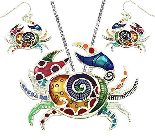 DianaL Boutique Gorgeous Crab Pendant Necklace and Earrings Set with 24