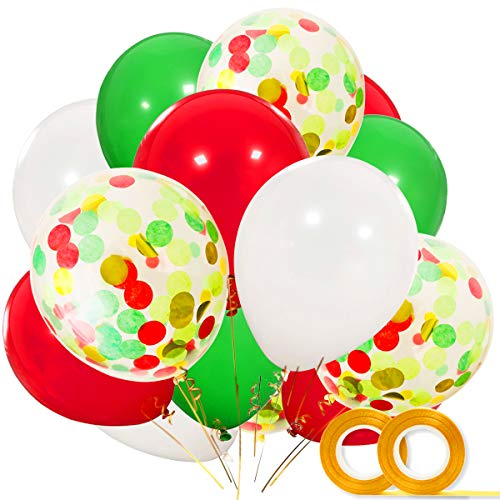 Christmas Balloons 40 Pack- 12 Inch White Red