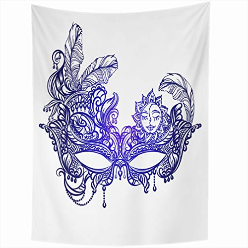 Ahawoso Tapestry 60x90 Inch Mardi Face Masks Boho Gras Venetian Vintage Masquerade Orleans Chic Lace Abstract Wall Hanging Home Decor for Living Room Bedroom Dorm