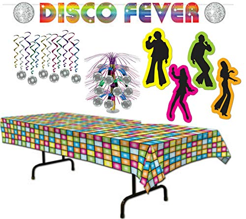 Disco Fever 70's Party Decorations Kit with Table Cover, Centerpiece, Whirls, Banner, and Silhouettes]()