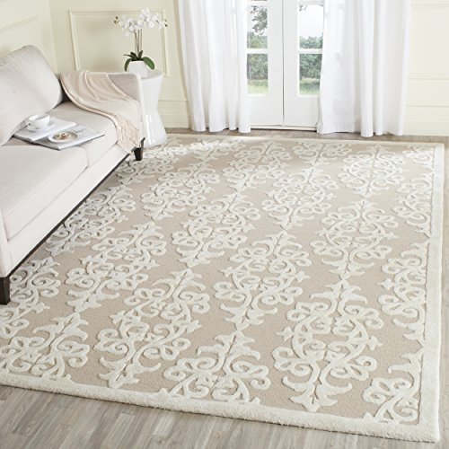 12' Sand Area Rug (Safavieh Bella Collection BEL127B Handmade Sand and Ivory Premium Wool Area Rug (9' x 12'))