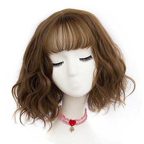 TOP-MAX Light Brown Short 12 Inches Curly with Bangs Heat Resistant Cosplay Wig Fashion Lolita Lady]()