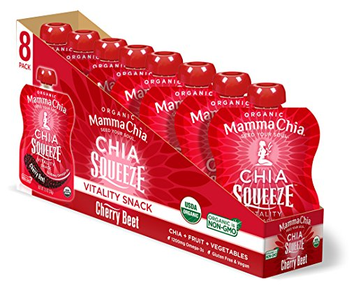 Shine Pouch - Mamma Chia Organic Vitality Squeeze Snack, Cherry Beet, 8 Count (Pack of 2)