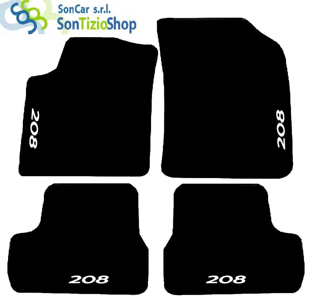 Tapis de sol pour voiture Set complet de tapis artisanaux en moquette et sur mesure pour 208 à partir de 2012avec broderie à fil
