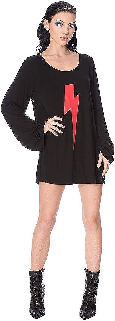 Banned Top o Camiseta con Rayos Estampados Thunderbolt - Negro/Rojo: Amazon.es: Ropa y accesorios