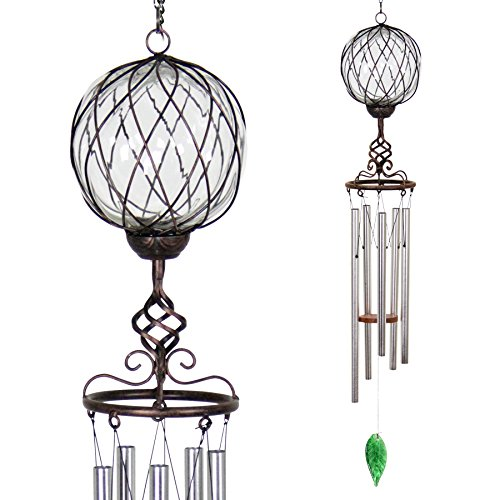 (Exhart Bronze Windchime w/Clear Solar Crystal Ball - Solar Glass Ball Garden Chimes w/Solar-Powered Lights in Bronze Metal Cage Finial Design - Hand-Blown Glass Orb, Tuned Windchimes, 5
