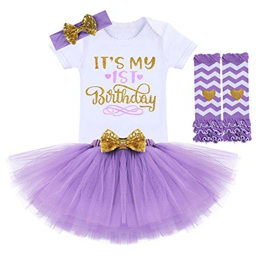 FYMNSI Newborn Baby Toddler Girls Its My 1st / 2nd Birthday Cake Smash Romper + Tutu Skirt with Bowknot + Headband + Leggings 4 Pcs Outfits