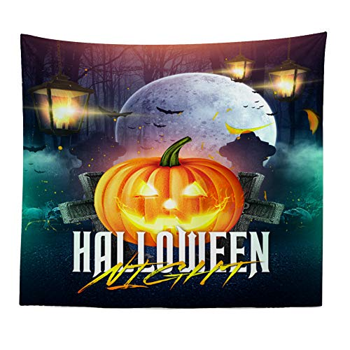 Gbell Lightweight Halloween Pumpkin Witch Tapestry - Soft Grand Room Bedspread Wall Art Hanging Blanket Gifts for Kids Boys Girls Adults Room Dorm Home Decor,1Pcs,120 x 150CM (I) -