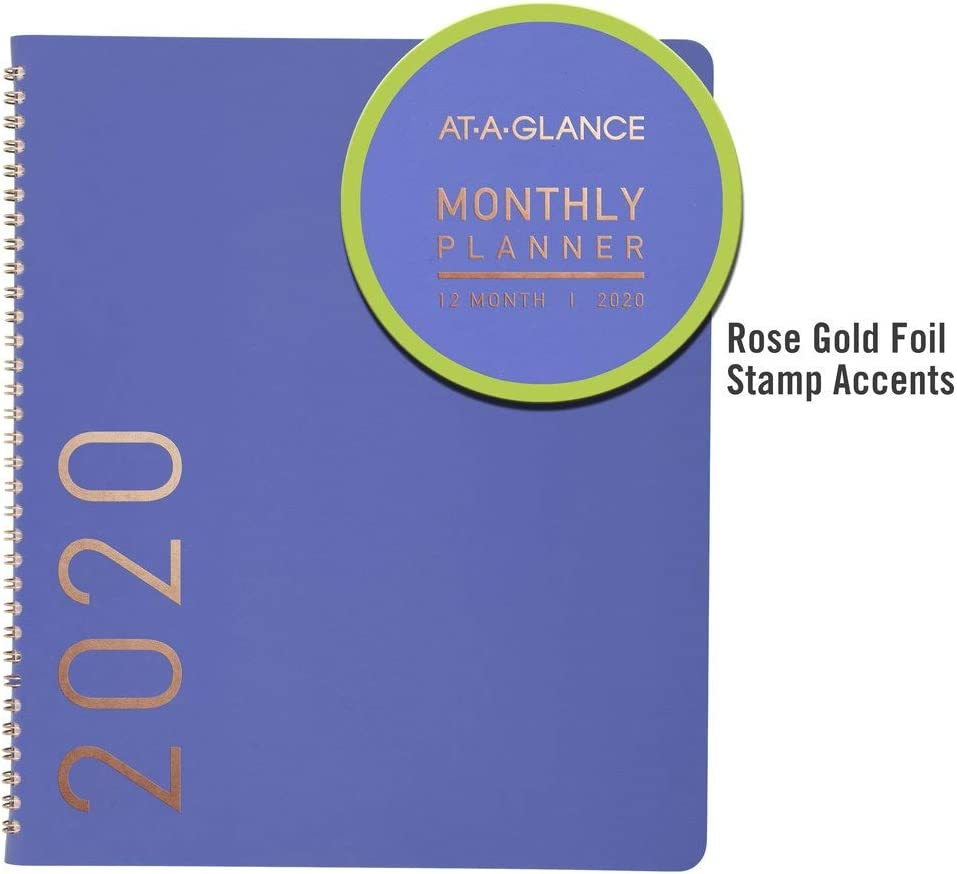 Large 70260X0620 at-A-Glance 2020 Monthly Planner Contempo 9 x 11 Titanium