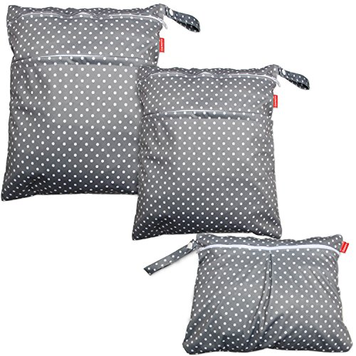 Damero 3pcs Travel Wet and Dry Bag with Handle for Cloth Diaper, Pumping Parts, Clothes, Swimsuit and More, Easy to Grab and Go, Gray Dots
