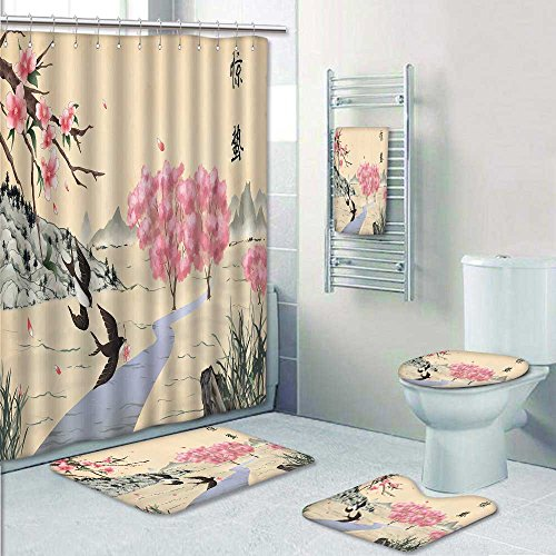 PRUNUSHOME Designer Bath Polyester 5-Piece Bathroom Set, Jingzhe solar term ink painting Shower curtain/toilet seat/bath towel by PRUNUSHOME