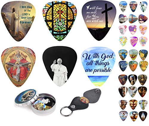 Guitar Picks - Cool Christian Gift Picks Set - 12 Medium Celluloid Plectrum Include Guitar Pick Holder & Tin Box. Inspired & Meaningful Prints Messages - Worship The Lord - Limited Time Deal