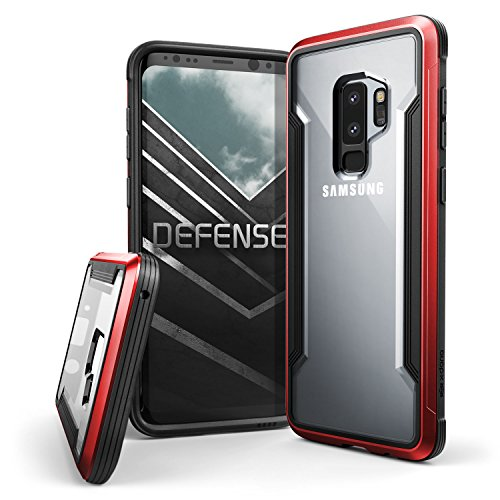 X-Doria Galaxy S9 Plus Case, Defense Shield Protective Aluminum Frame Case Thin Design Shockproof Transparent Case for Samsung Galaxy S9 Plus, Red (Sexy Galaxy S3 Case)