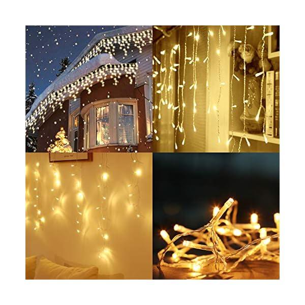 5m LED Luci Stringa 24 stringe, 50-80cm/ogni + 3m Cavo di alimentazione, stringa decorativa LED con 200 LED impermeabili, alimentazione di sicurezza 31V 3 spesavip