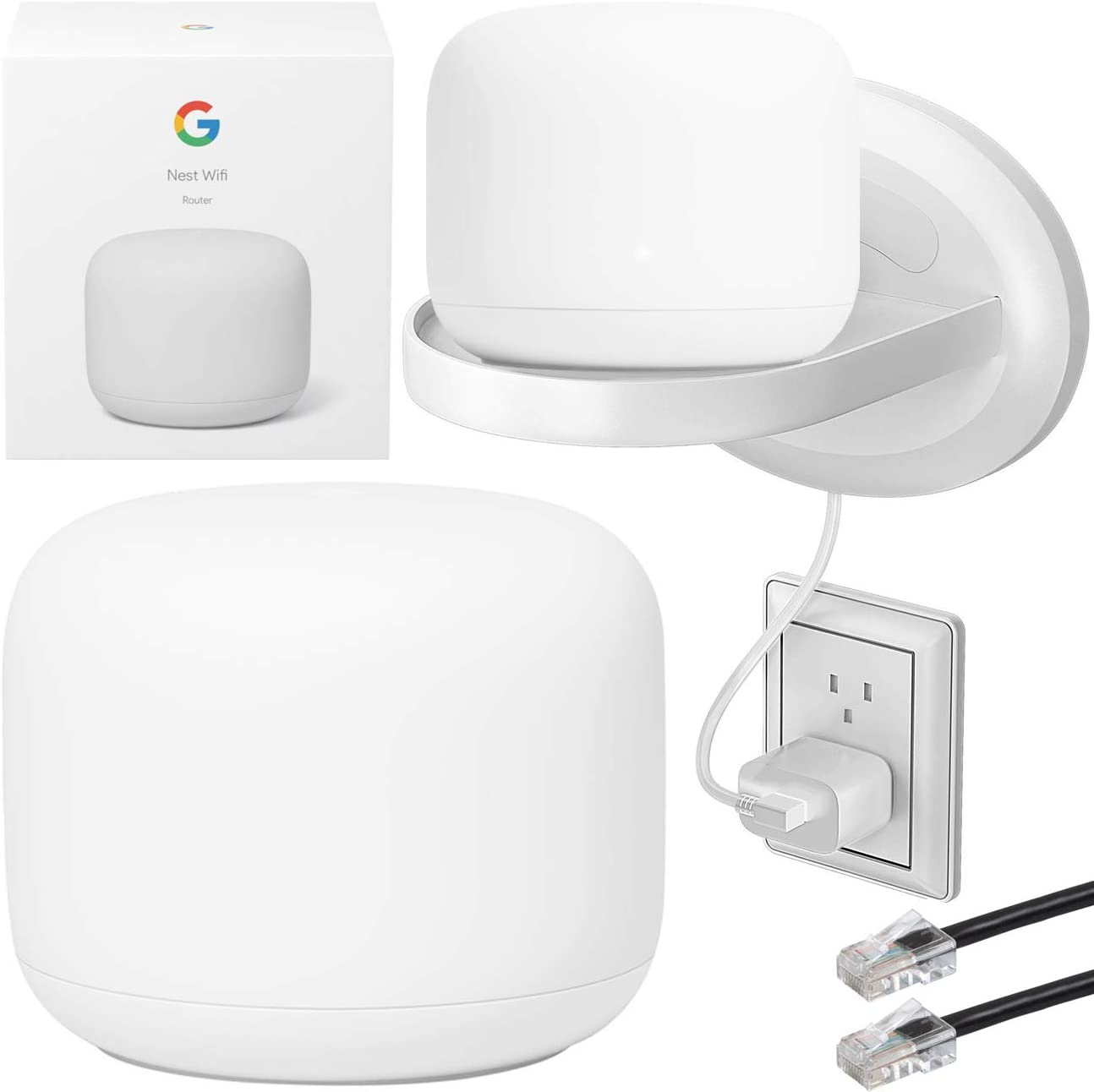 Google Nest WiFi Router Dual-Band Mesh Network GA00595-US (Snow) Up to 2200 sq. ft Bundle with Deco Gear Shelf Outlet Stand + Deco Gear 7ft Ethernet Patch Cable