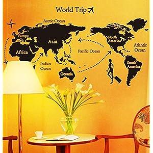 ufengke® «Vuelta Al Mundo» Mapa Del Mundo Pegatinas de Pared, Sala de Estar Dormitorio Removible Etiquetas de la Pared / Murales, B