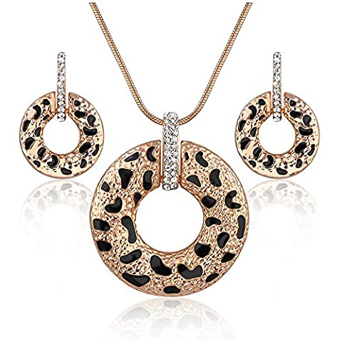 Dnswez Vintage Leopard-print Circle Chain Crystal Pendant Necklace Earrings Jewelry Set(Rose Gold - Circle Print Tie