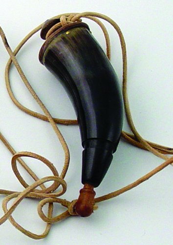 """8"""" Genuine Buffalo Powder Horn with Leather Strap"""