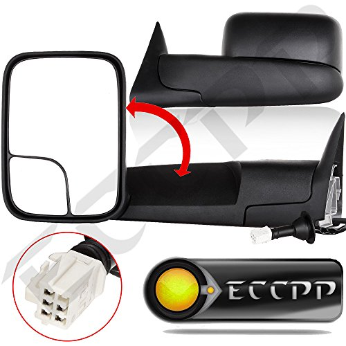 02 Power Side Mirror (ECCPP Power Heated Black Manual Side View Mirror Tow Towing Mirrors W/Brackets for 98-01 Dodge Ram 1500, 98-02 Ram 2500 3500 Truck Pickup Pair)