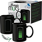 Heat Changing Sensitive Funny Mug - Cool Coffee & Tea Unique Magic Color Changing Cup 12 oz Battery Charging Design Drinkware Ceramic Mugs Cute Birthday Christmas Gift Idea for Mom Dad Women & Men
