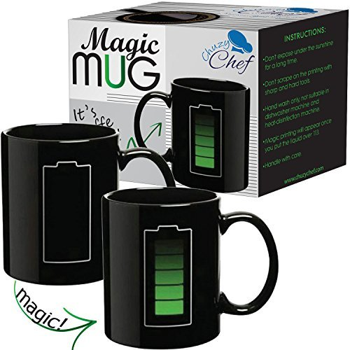 Fun Coffee - Heat Changing Sensitive Funny Mug - Cool Coffee & Tea Unique Magic Color Changing Cup 12 oz Battery Charging Design Drinkware Ceramic Mugs Cute Birthday Christmas Gift Idea for Mom Dad Women & Men