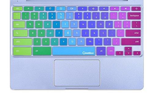 CaseBuy-Ultra-Thin-Colorful-Keyboard-Cover-Skin-for-Samsung-ARM-116-Chromebook-2-XE500C12-Chromebook-3-XE500C13-116-inch-Chromebook-Rainbow