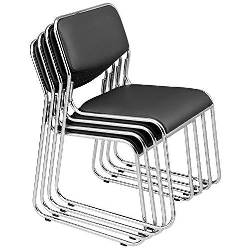 [pro.tec] 4x Besucherstühle (schwarz - gepolstert)(im Sparpaket) Konferenzstuhl / Stuhl / Bürostuhl / Stuhl / Wartezimmer - Stuhl