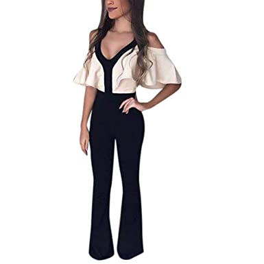 ca86cc90df2e Amazon.com  Women Elegant Sexy V Neck Ruffle Jumpsuit Romper Belted  One-Piece Wide Leg Pants Sleeveless Backless Party Clubwear  Clothing