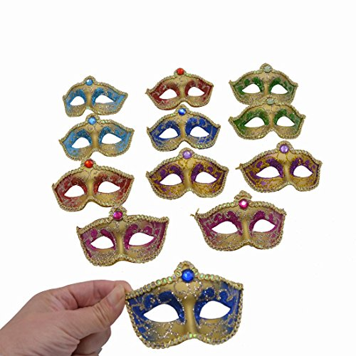 Mini Masquerade Masks Party Decorations - Yiseng 12pcs Set Small Luxury Mardi Gras Masks Halloween Costume Decor Novelty Gifts (mix color)
