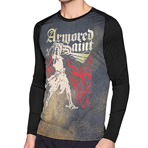 Yeayi Men Armored Saint Music Band Lightweight Long Sleeves Raglan Contrast Color T Shirts XL Gift
