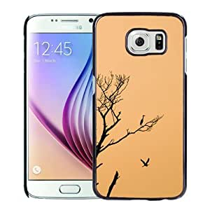 NEW Unique Custom Designed Samsung Galaxy S6 Phone Case With Stork Birds Sunset Tree_Black Phone Case
