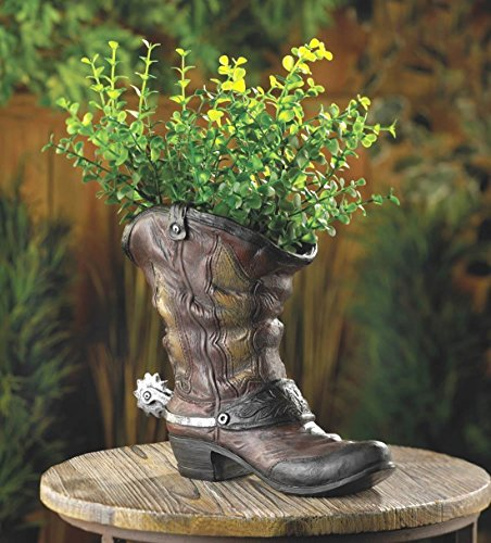 Cowboy Boot Shoe Country Western Flower Pot Garden Plant Planter Yard Art Statue]()