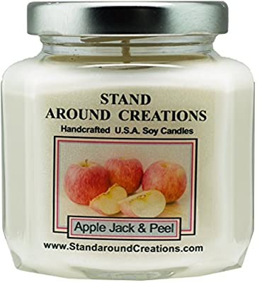 Premium 100% Soy Wax Candle - 6 - oz. Hex Jar- Scent: Apple Jack & Peel - A scent of apples and oranges blended w/ cinnamon, clove, nutmeg. Contains essential oils.