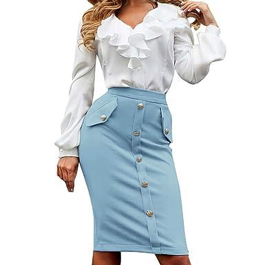 Moda para Mujer Negocio Tight Tenedor Abertura Longitud De La ...