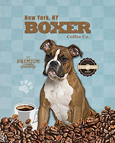Boxer Coffee Co. Vintage Dog Poster Print 11x14 - Customizable City and (Antique Dog Art)
