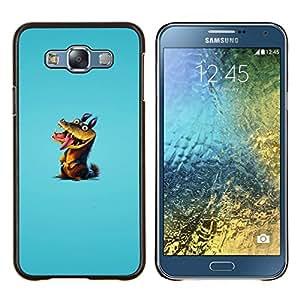 LECELL--Funda protectora / Cubierta / Piel For Samsung Galaxy E7 E700 -- Cocodrilo Lizzard Reptil verde del dibujo del arte de la historieta --