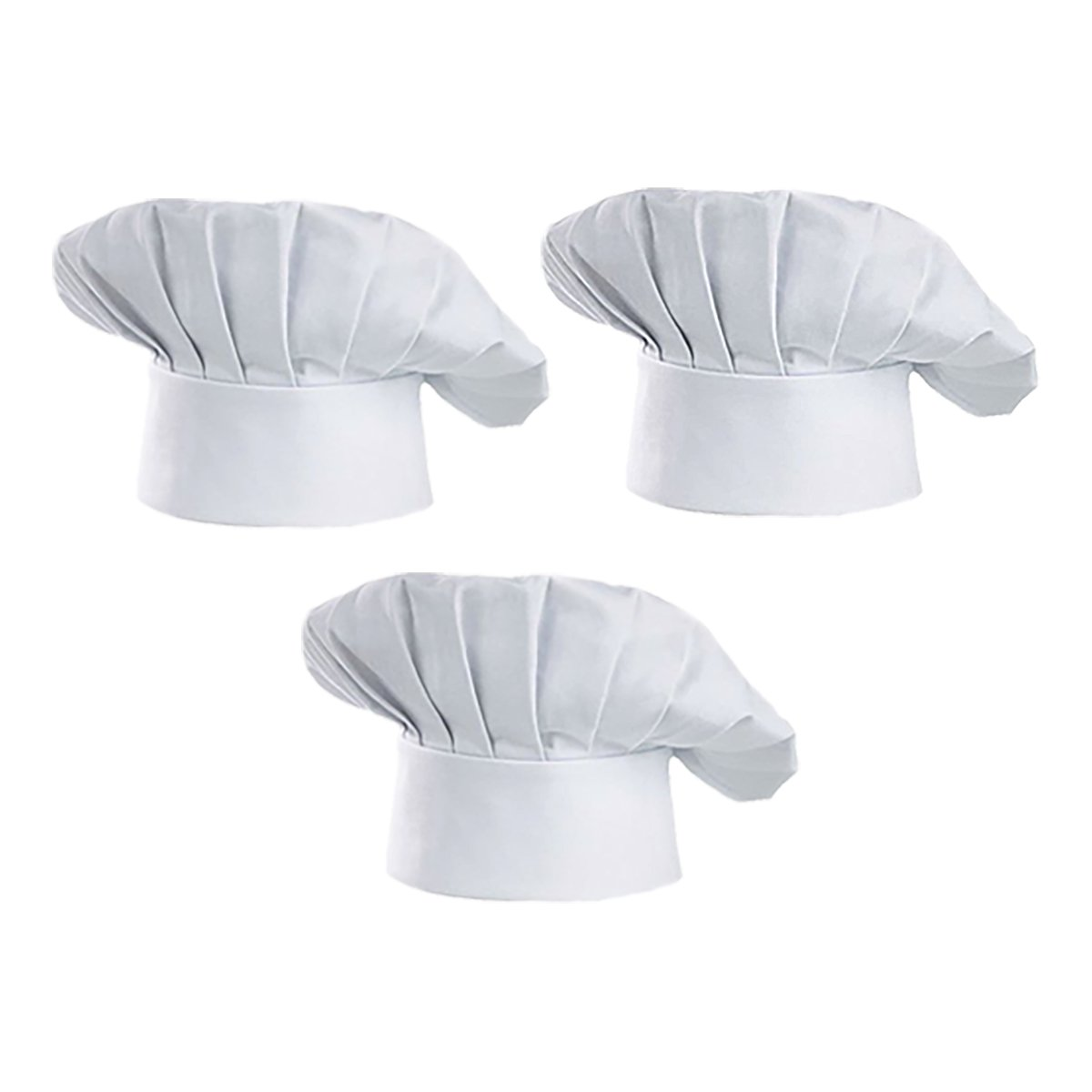Chef Hat Set of 3 Adult Adjustable Elastic Baker Kitchen Cooking Chef Catering Cap,White or Black (White)
